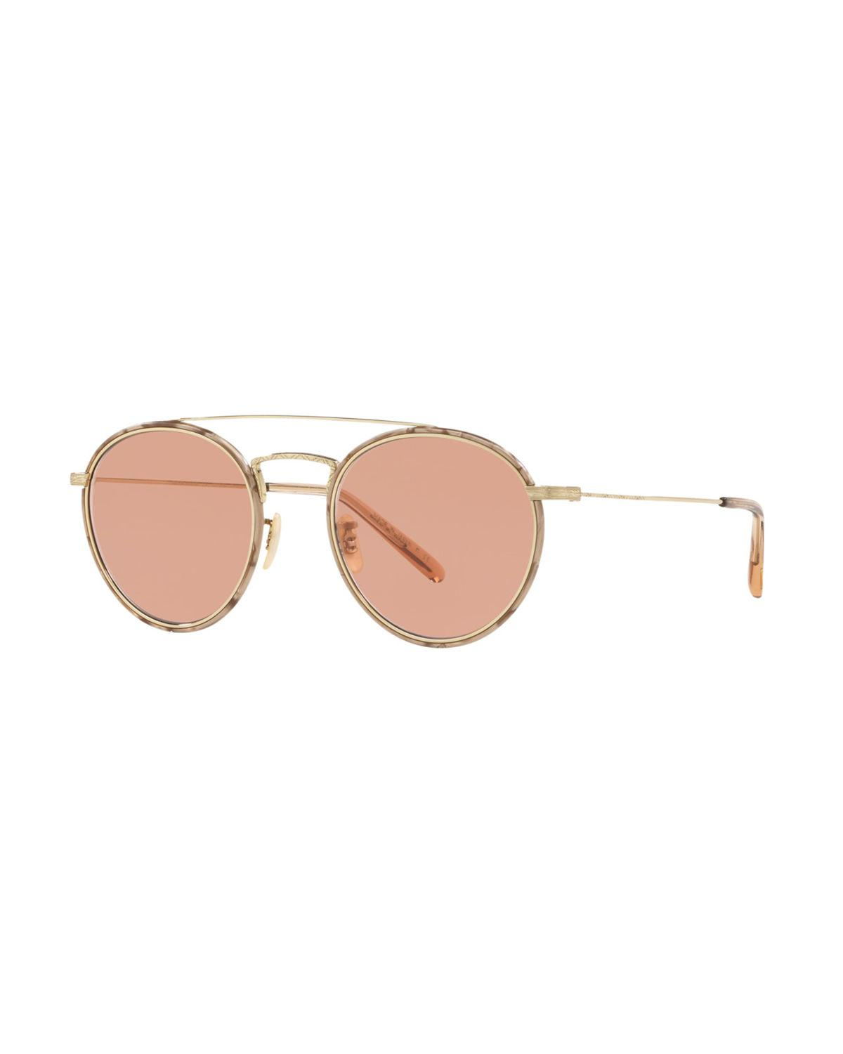 636bf371021 Oliver Peoples. Women s Pink Ellice Photochromic Titanium Round Sunglasses.   585 From Neiman Marcus