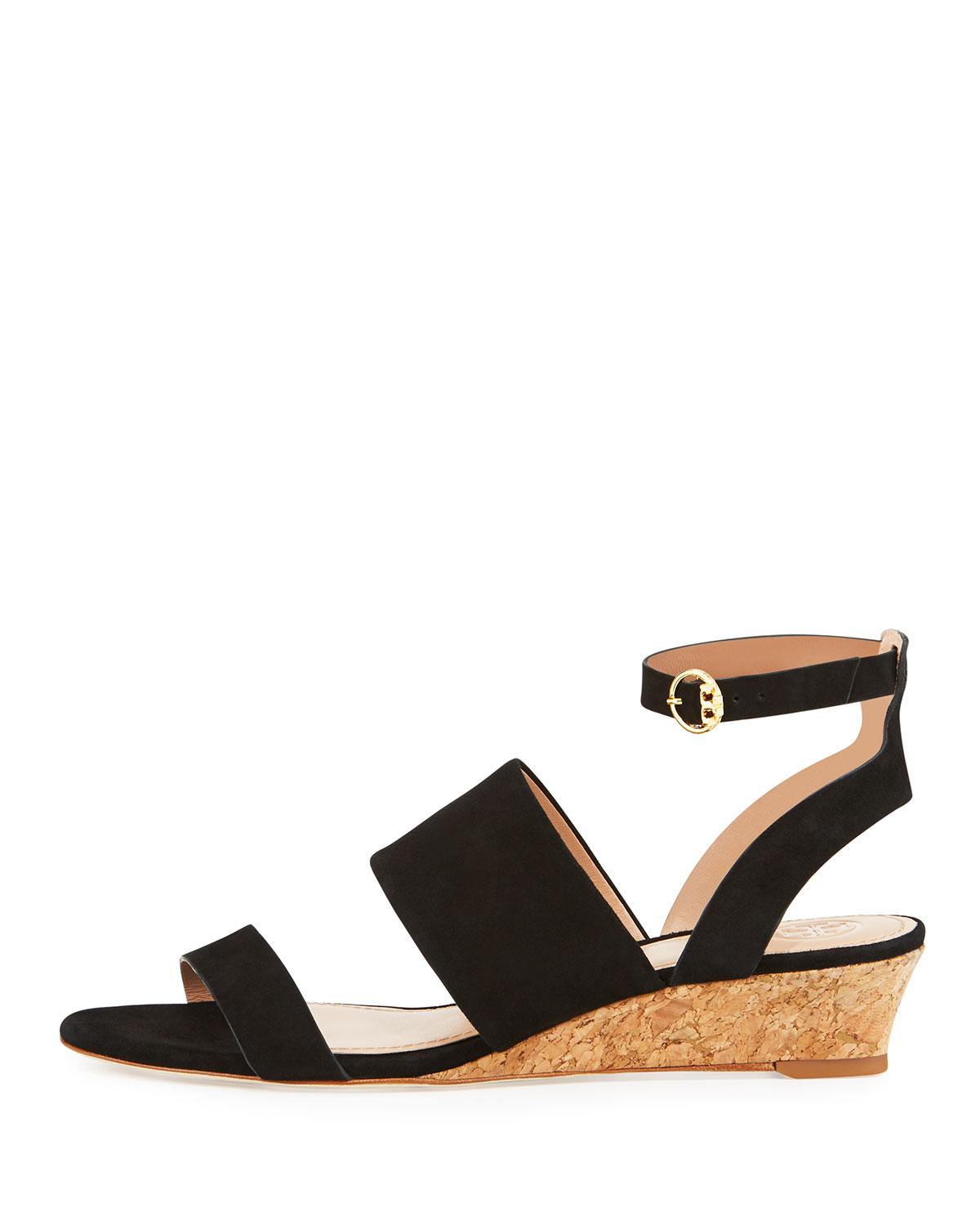c7972052341 Lyst - Tory Burch North Suede Low-wedge Sandal in Black