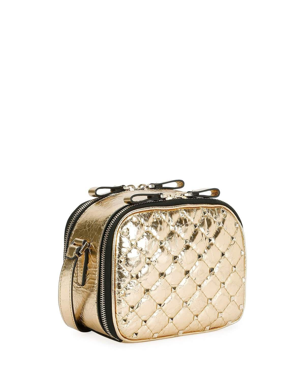 8d08c4ba9e Valentino Rockstud Spike Metallic Crossbody Camera Bag in Metallic ...