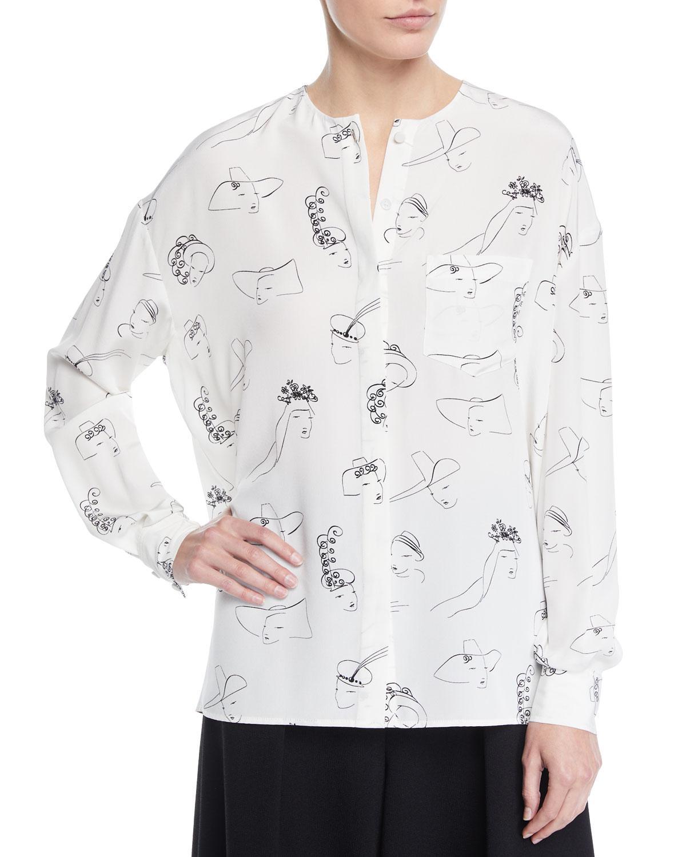 eda400e7b7643c Lyst Co Long Sleeve Face Print Llarless Silk Tunic Blouse In White. Nijinska  ...