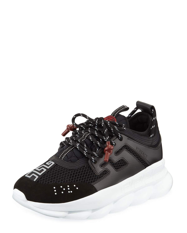 0c28e7c289 Sneakers Lyst Versace Black Men's For Reaction Chain Men In fwPBq