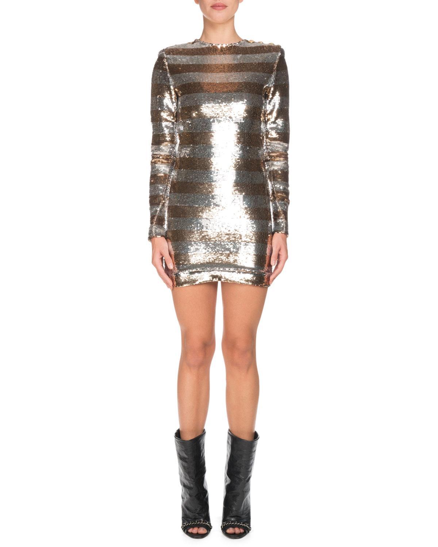 efadb8d6a80 Lyst - Balmain Long-sleeve Sequin Striped Mini Dress - Save 50%