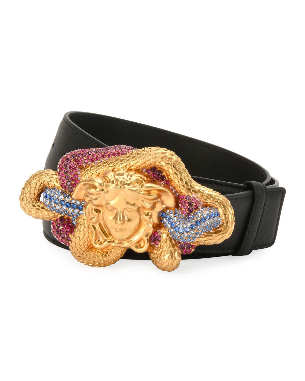 e6bf9e0a52452 Versace Black Leather Multicolor Medusa-buckle Belt for men. View fullscreen