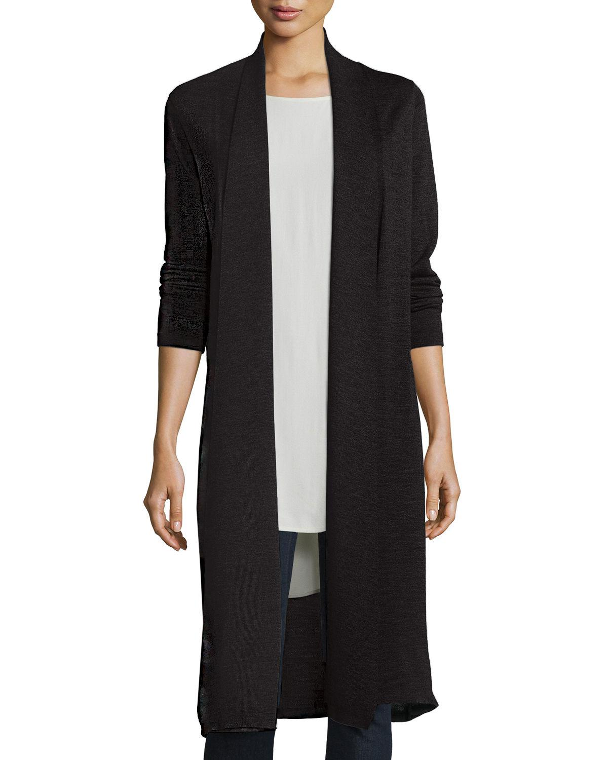 Eileen fisher Washable Wool Kimono Duster Cardigan in Black - Save ...