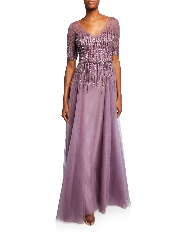 32d11bc405d2 Lyst - Teri Jon Beaded V-neck Short-sleeve Tulle Gown in Purple