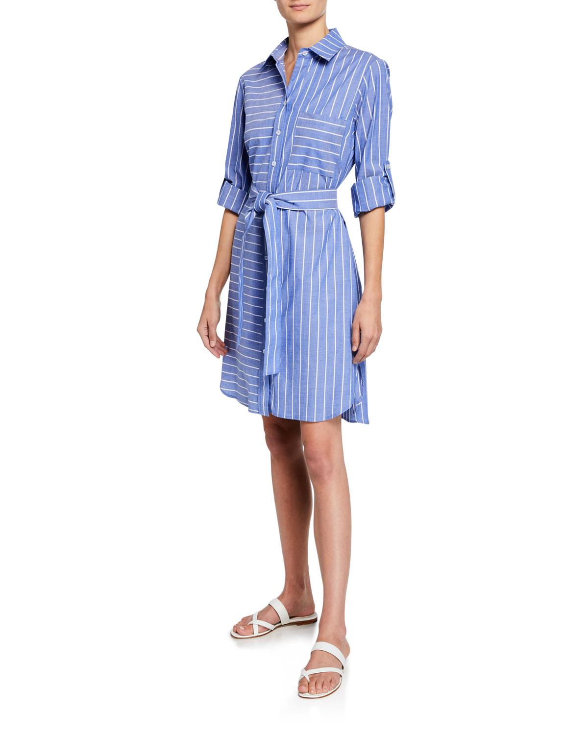 b333344bfe Lyst - Finley Parker Mixed Stripe Long-sleeve Shirtdress in Blue