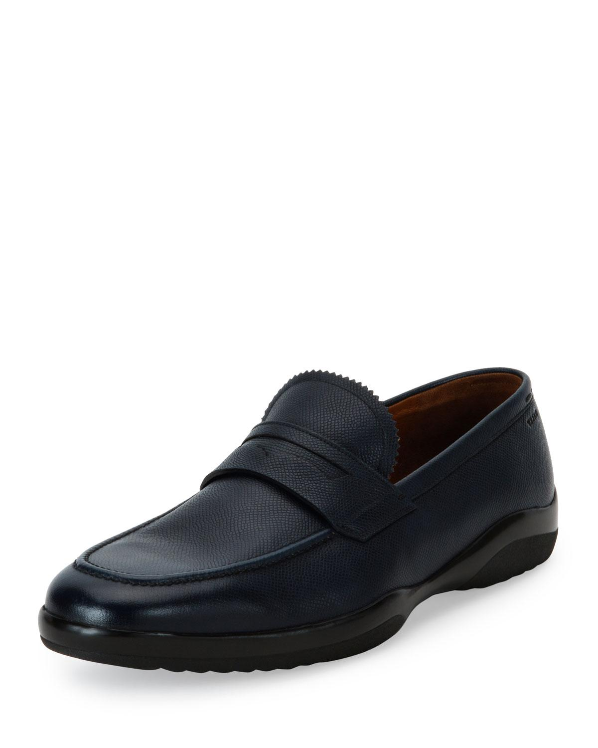 Bally Micson Textured Leather Penny Loafer in Blue for Men ...