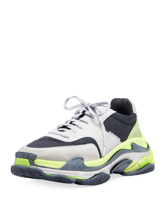 Triple S Tricolor Sneakers in Grey