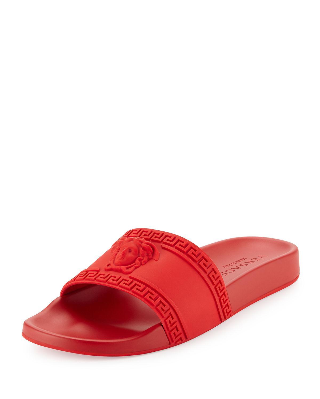 Versace Medusa-Head PVC Slides in Red