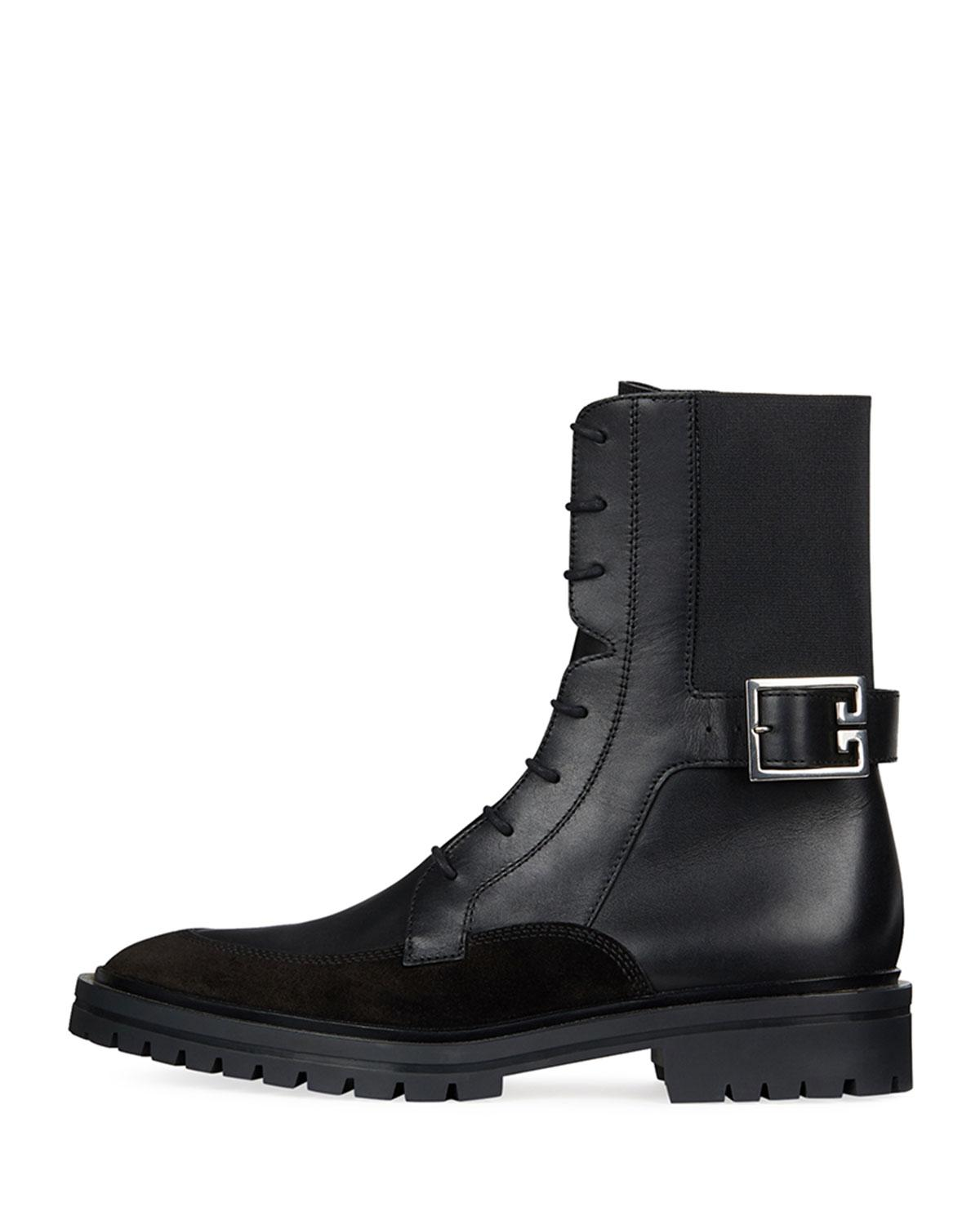Aviator Leather and Suede Lace-Up Boots Givenchy gveLrGb