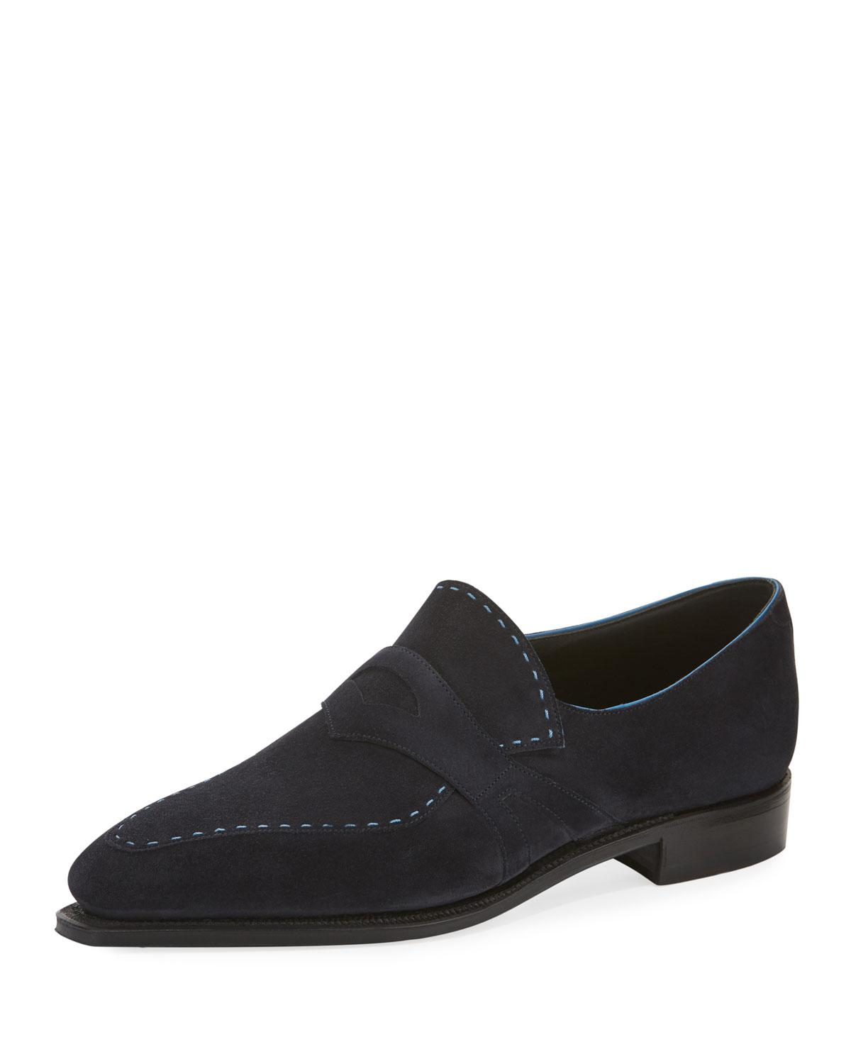 b6c53aa960a Corthay - Blue Men s Rascaille Suede Penny Loafers for Men - Lyst. View  fullscreen