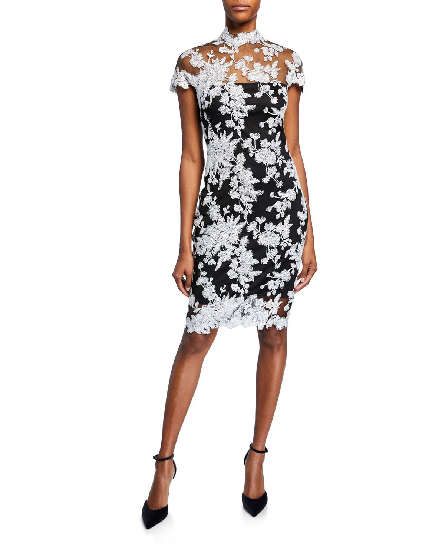 d444bf3097b Lyst - Tadashi Shoji Lace Applique Cap-sleeve Cocktail Dress in Black