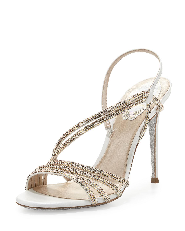 b4b4fb9bd191 Rene Caovilla Jeweled Asymmetric Slingback Sandal in Natural - Lyst