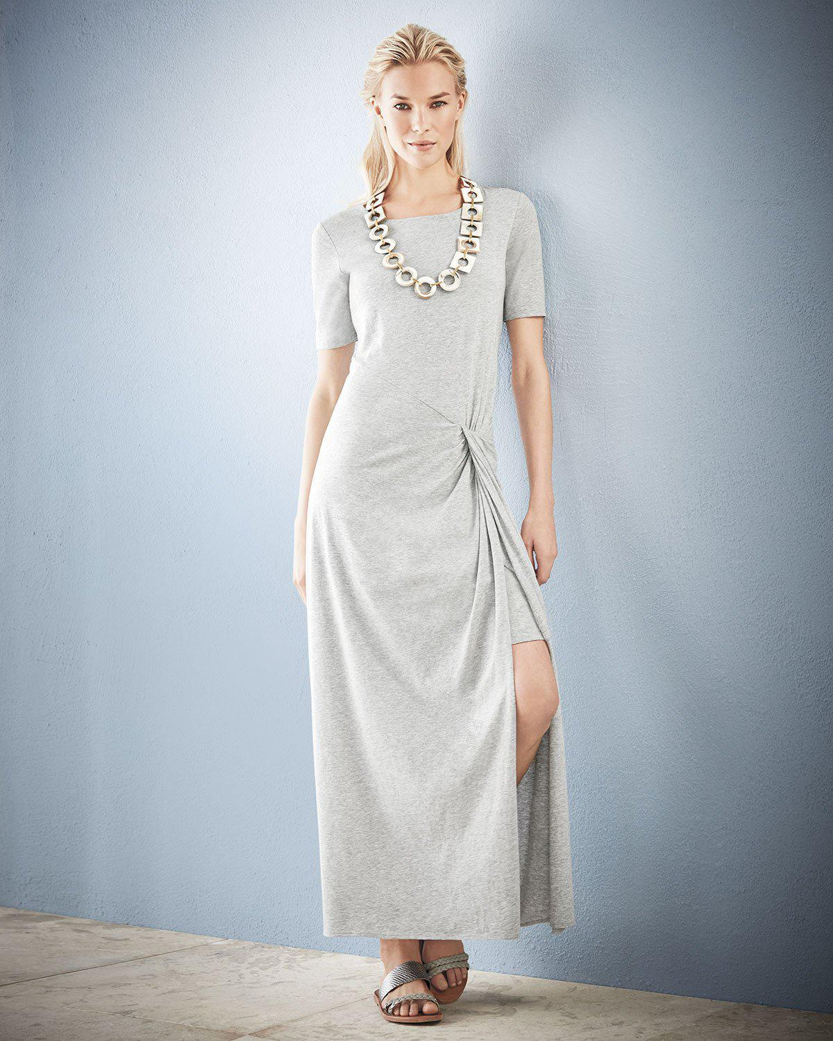 Joan Vass Short-sleeve Ruched Jersey Maxi Dress In Grey