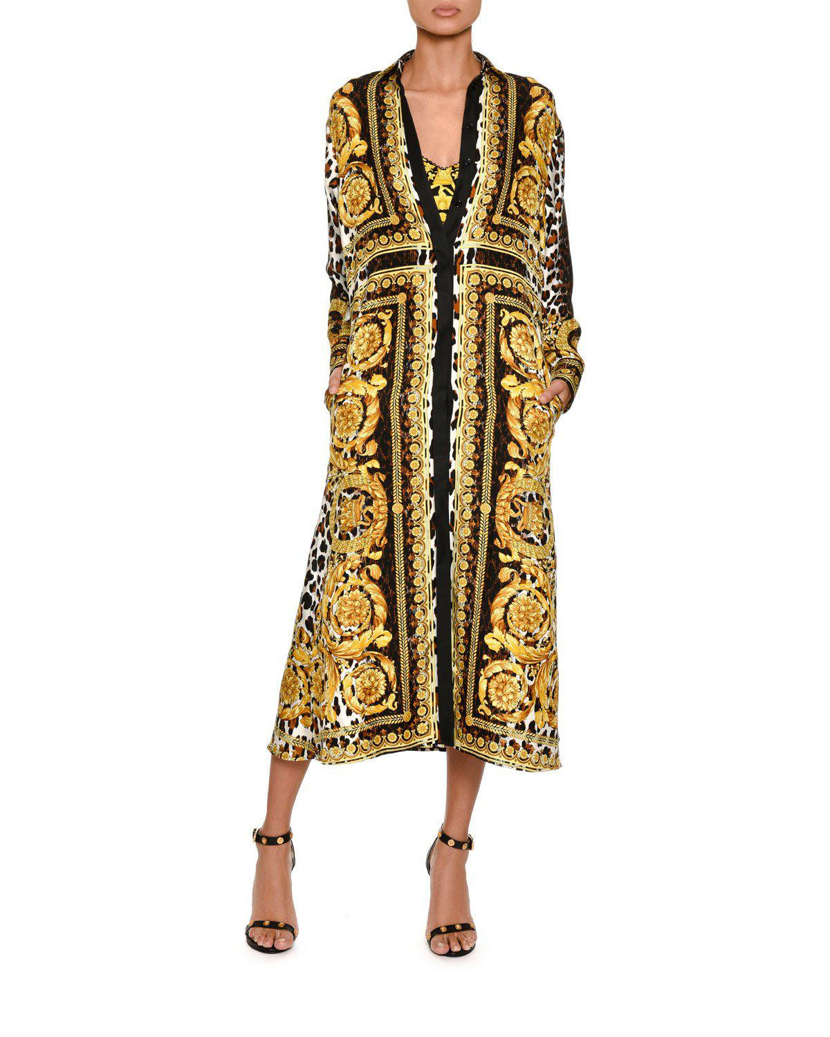 c0f882359101 Versace. Women s Metallic Long-sleeve Silk Twill Baroque-print Midi Dress