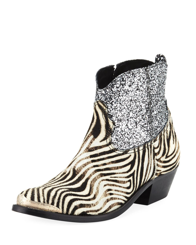 5f88111c224 Women's Black Young Zebra Glitter Western Booties
