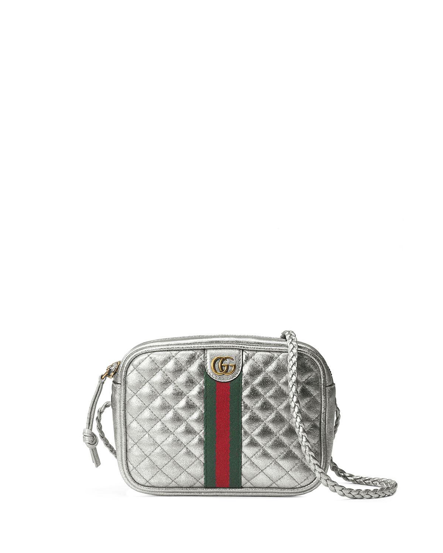 7bc5e6a9c90 Lyst - Gucci Trapuntata Metallic Leather Mini Crossbody Bag in Metallic