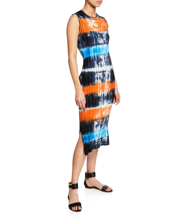6eeb359185e5 Lyst - Victoria, Victoria Beckham Tie-dye Ribbed Knit Midi Dress in Blue