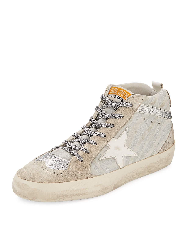Golden Goose Sneakers MID STAR suede zebra look glitter Star-Patch white jS0zc9