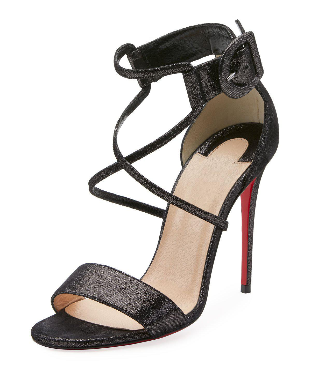2957884a37 Christian Louboutin. Women's Black Choca 100mm Metallic Suede Red Sole  Sandal