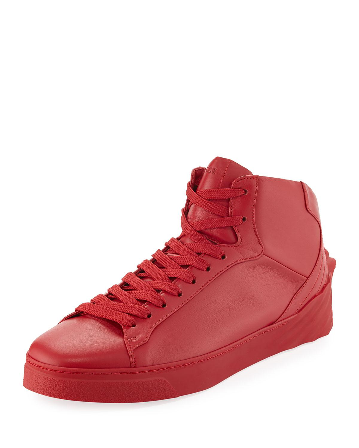 Versace Men's 3d Medusa Mid-top Leather Sneaker in Red for ...