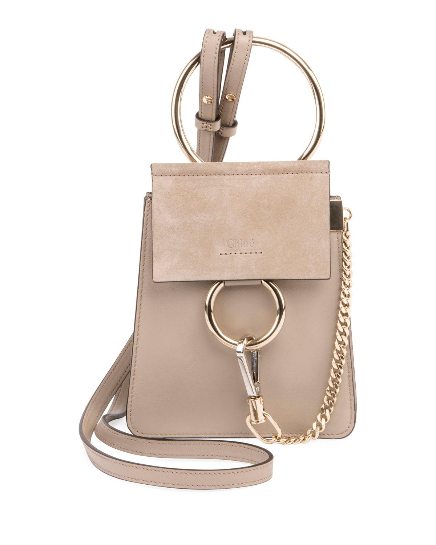 c4856b2732bf3 Lyst - Chloé Faye Small Leather Bracelet Bag in Gray