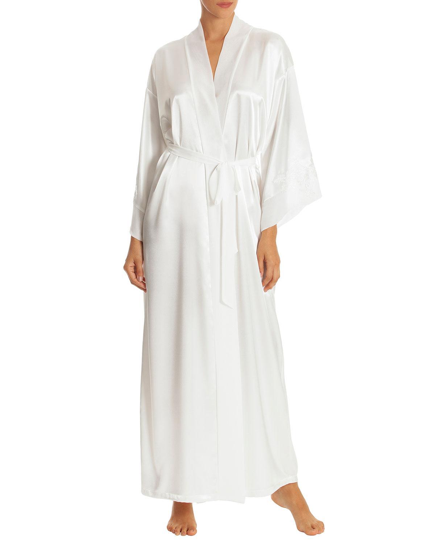 Lyst - Jonquil Long Satin Robe in White 822944fb1