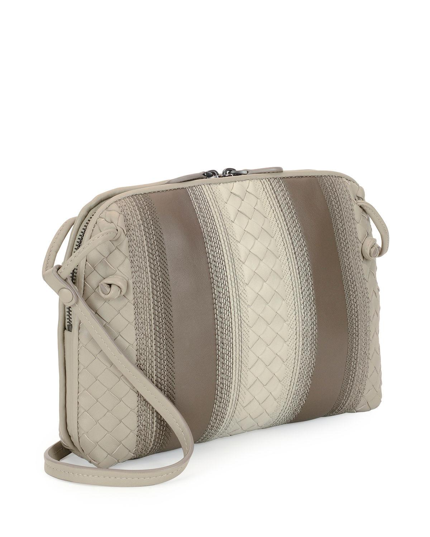 f383dad20e Lyst - Bottega Veneta Striped Leather Pillow Bag
