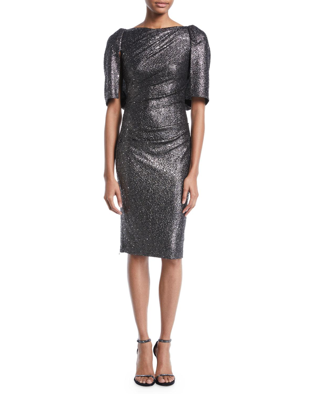 6ae1d7c3 Talbot Runhof. Women's Metallic Lobata Cape-sleeve Glitter Jersey Sheath  Cocktail Dress