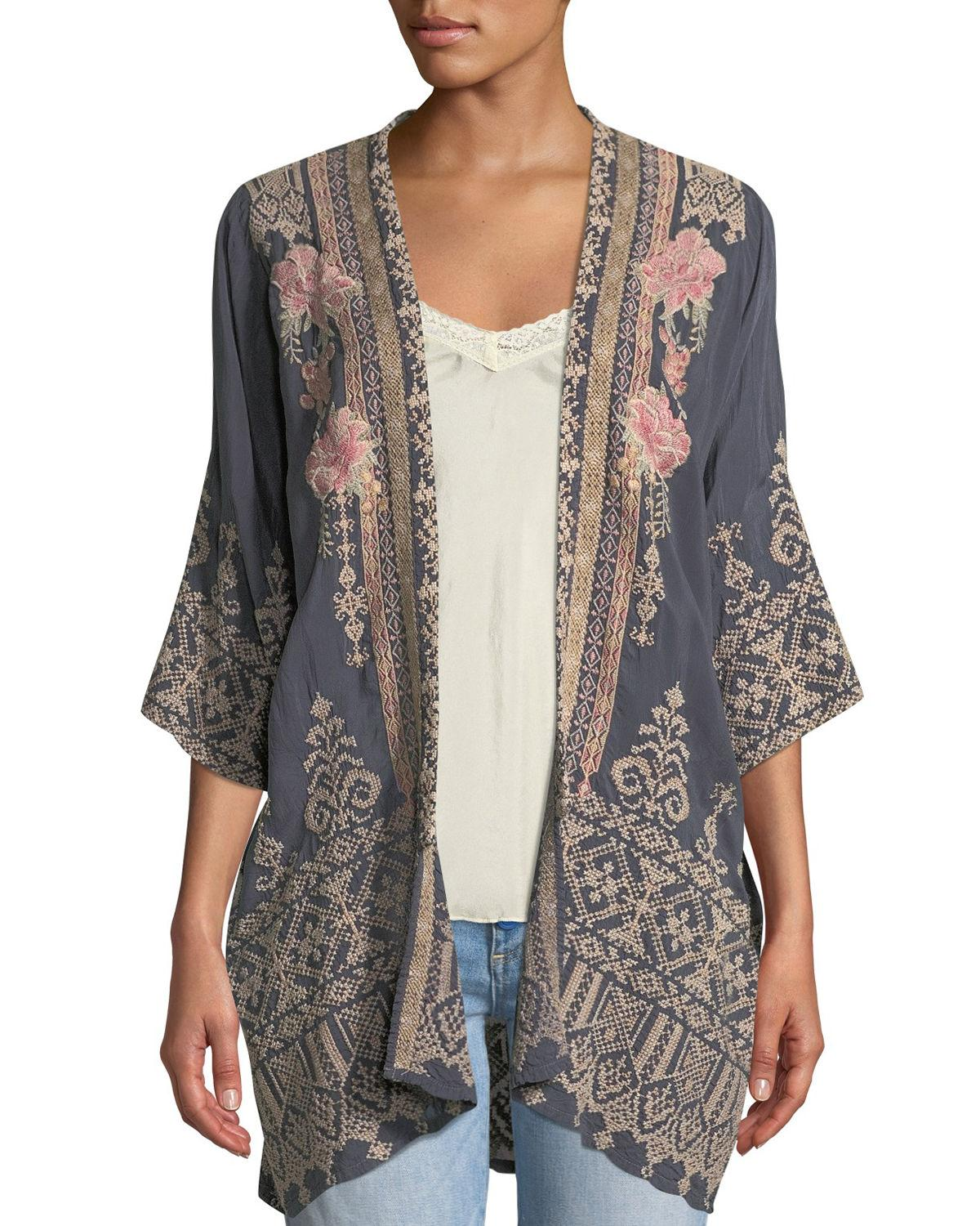 1edc9faf0e76d Lyst - Johnny Was Helena Embroidered Kimono in Black - Save 10%