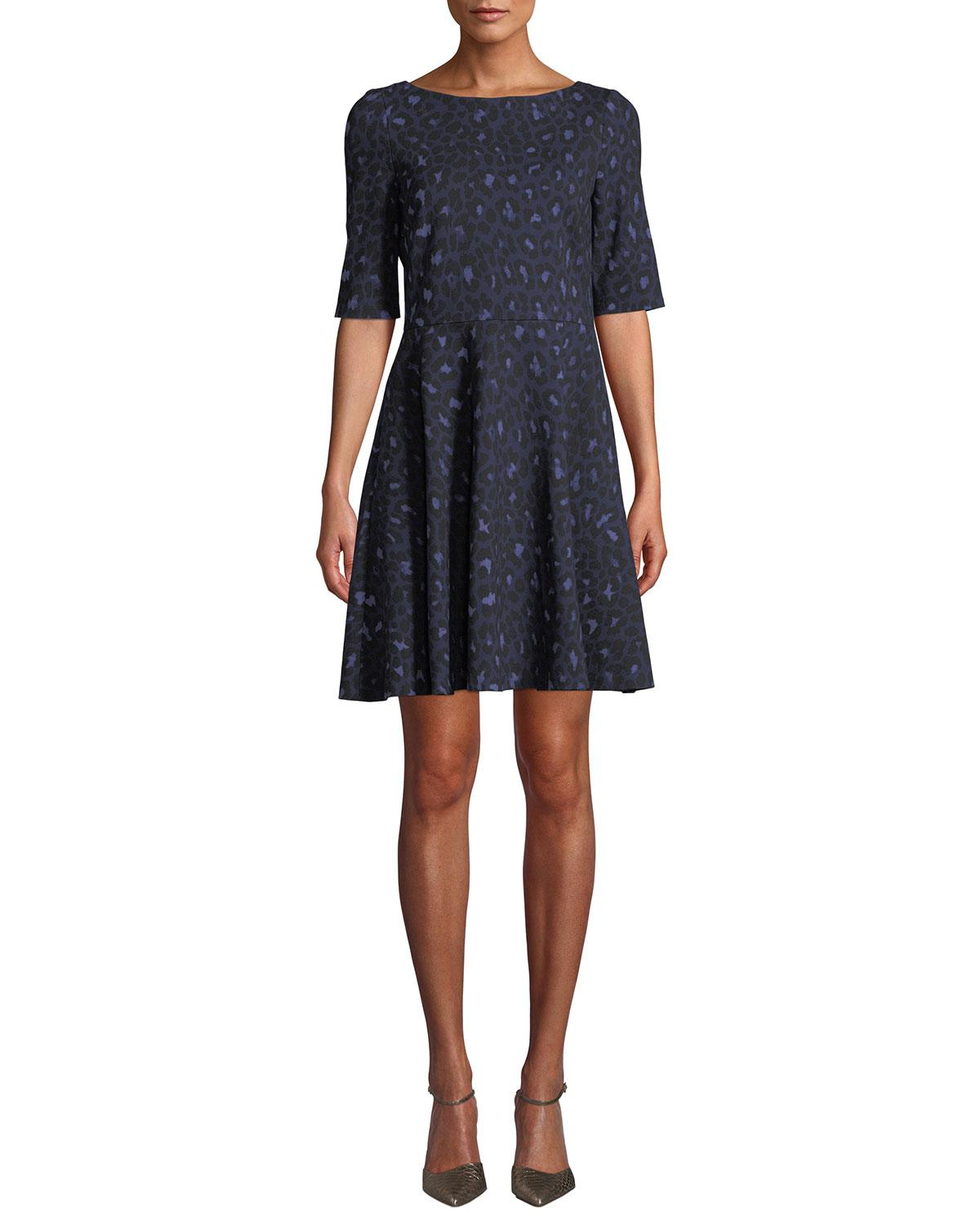5faa0ab7cb Lyst - Kate Spade Leopard Lace-up Ponte Dress in Blue
