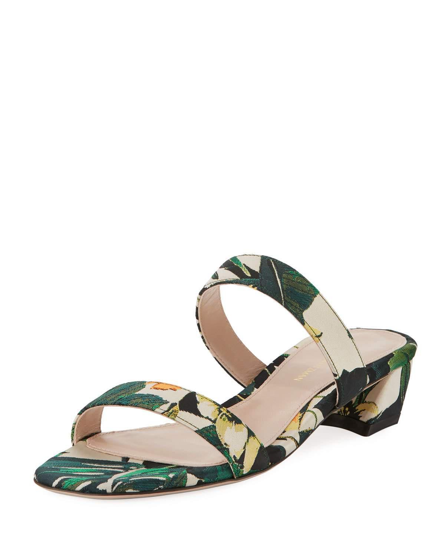 9990d0d4c646 Lyst - Stuart Weitzman Ava Botanic Jacquard Low-heel Slide Sandal in ...