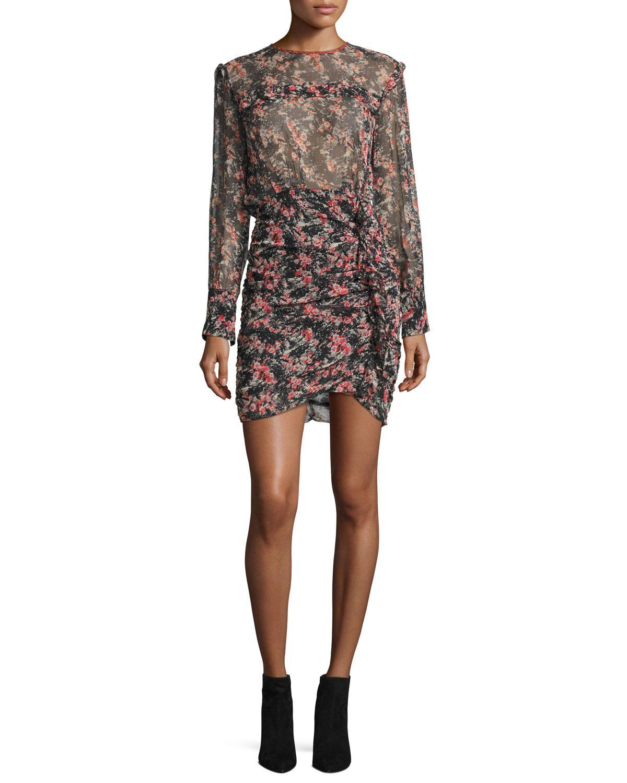 floral-print ruched mini dress - Multicolour Isabel Marant XMGqV