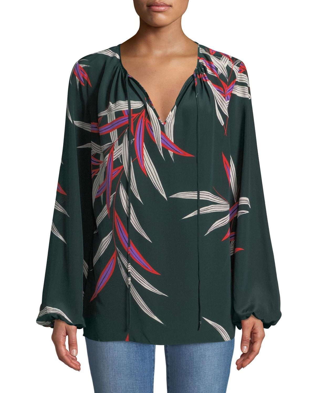 e59a9a916260d7 Lyst - Diane von Furstenberg Silk Bird-print Long-sleeve Blouse in Green