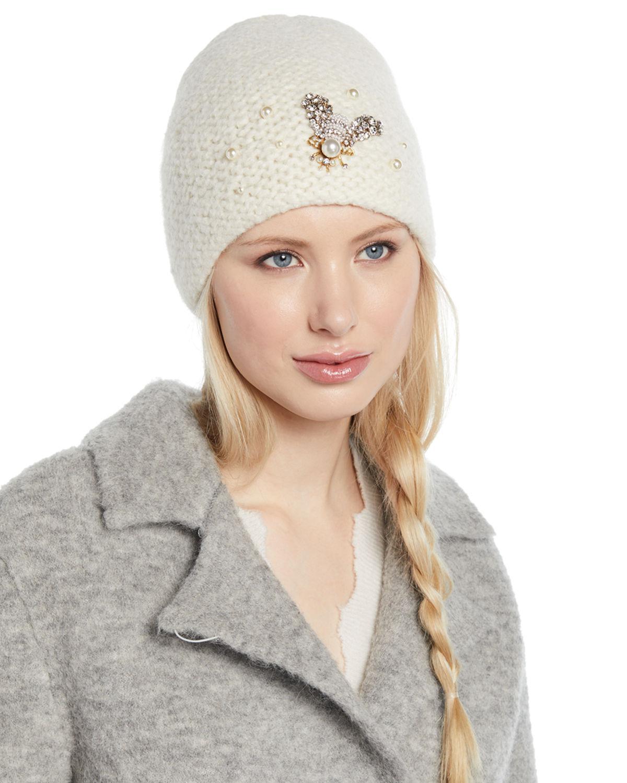 95828e179da07 Lyst - Jennifer Behr Embellished Bee Knit Beanie Hat