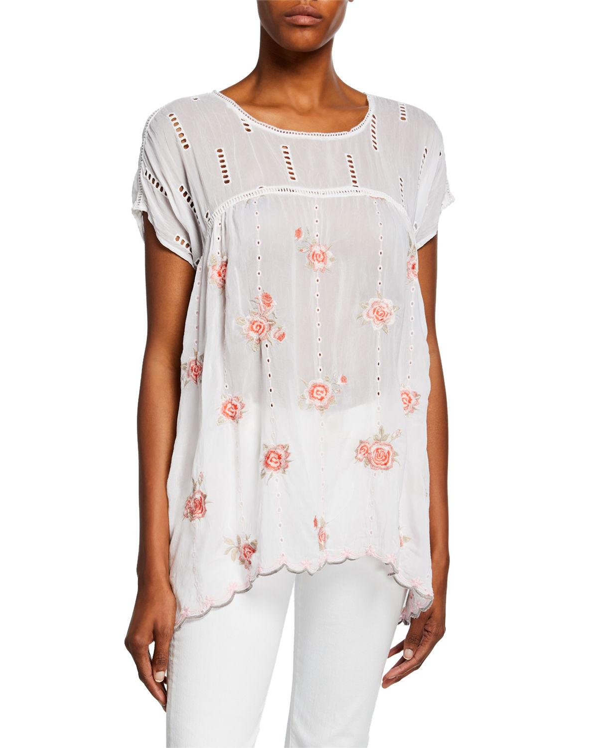 b3e8a48a7572b Lyst - Johnny Was Rose Floral Embroidered Dolman Top W  Eyelet ...