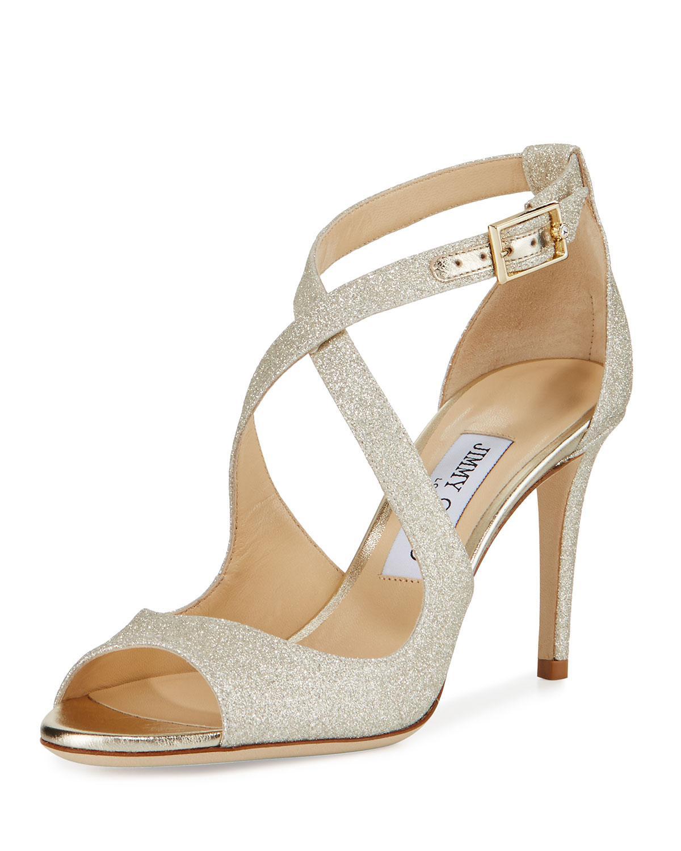 e5a36c75661d Jimmy Choo. Women s Metallic Emily Glitter Crisscross 85mm Sandals Gold