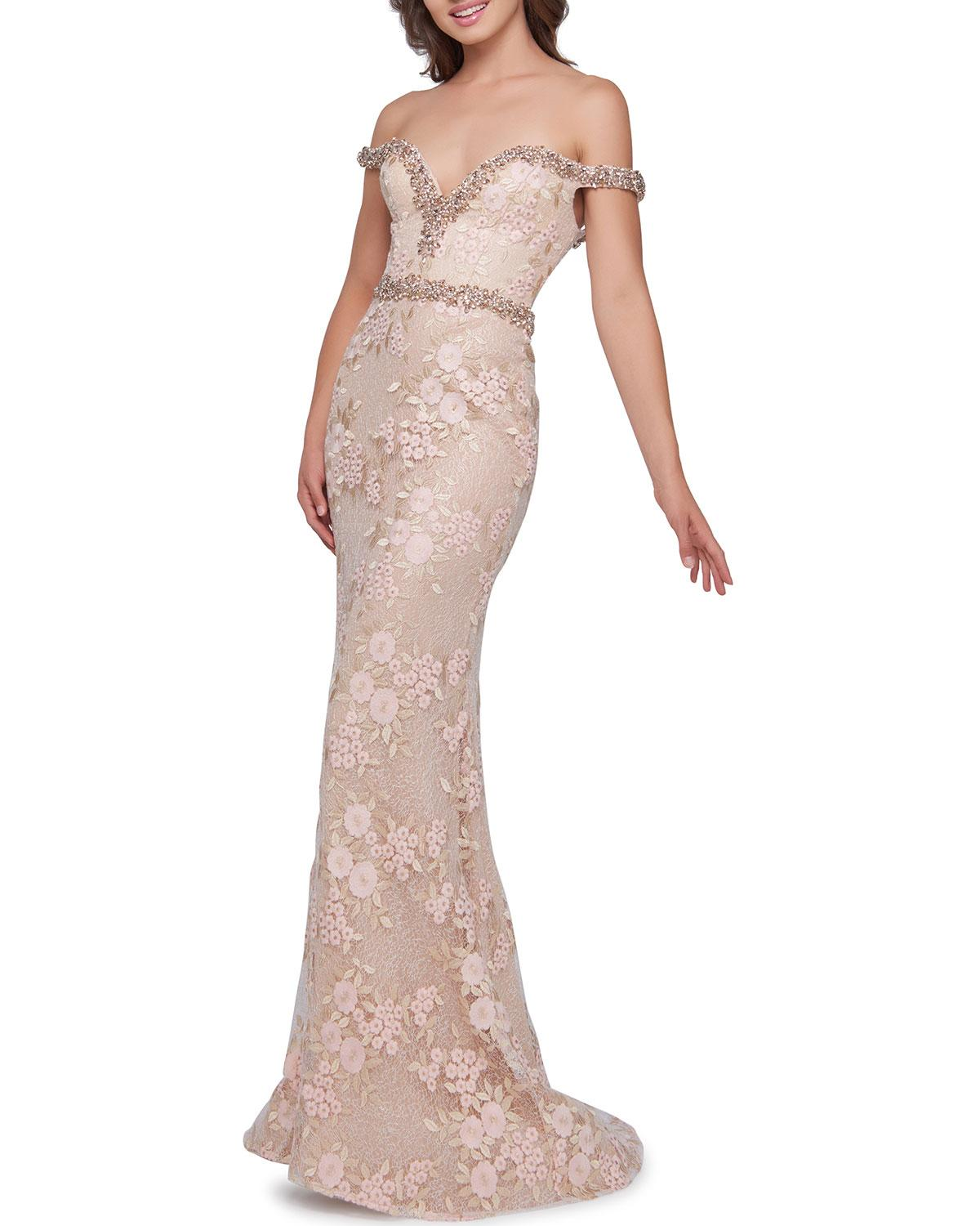 75e7258ad8 Lyst - Mac Duggal Off-the-shoulder Beaded Trim Lace & Floral ...