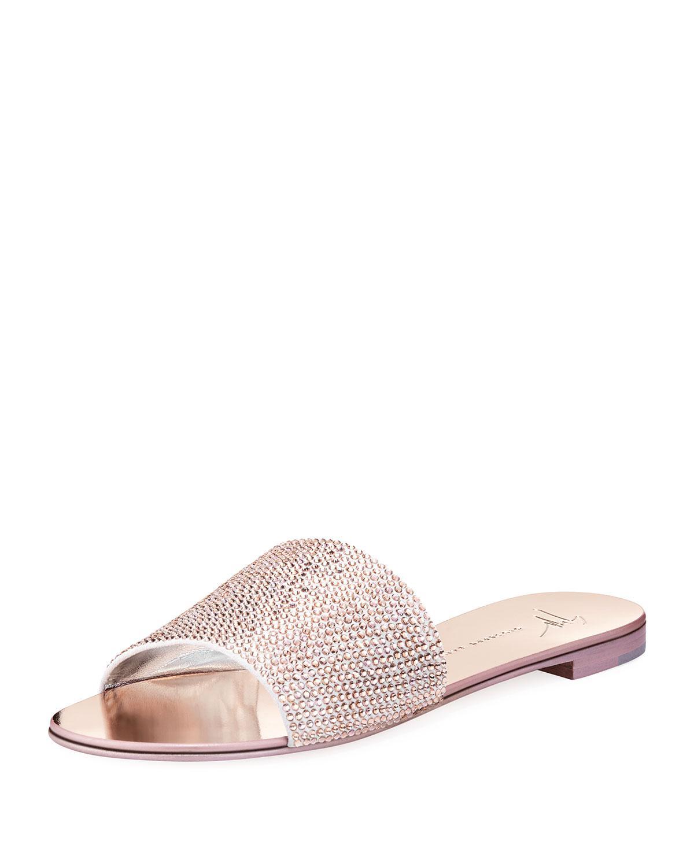Giuseppe Zanotti Embellished Velvet Slide Sandals cost sale online Jgus4z
