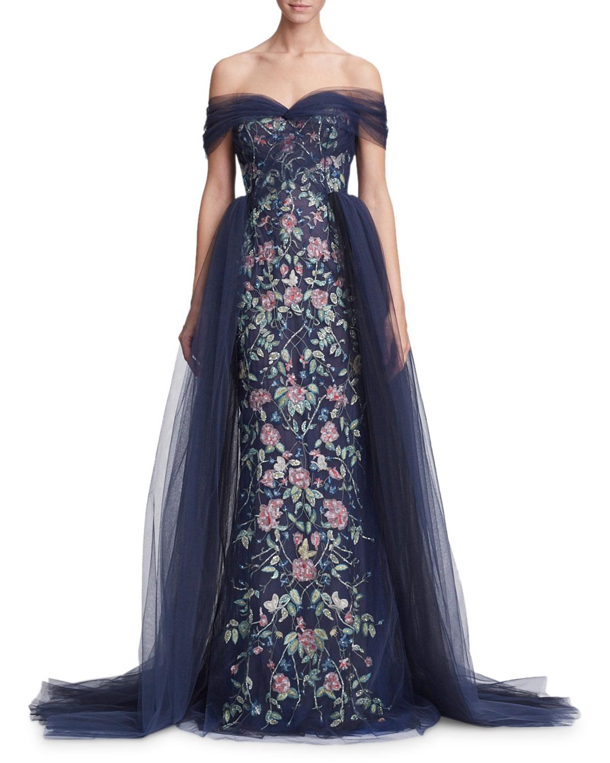 e66d989d51 Marchesa Off-the-shoulder Floral Tulle Evening Gown in Blue - Lyst
