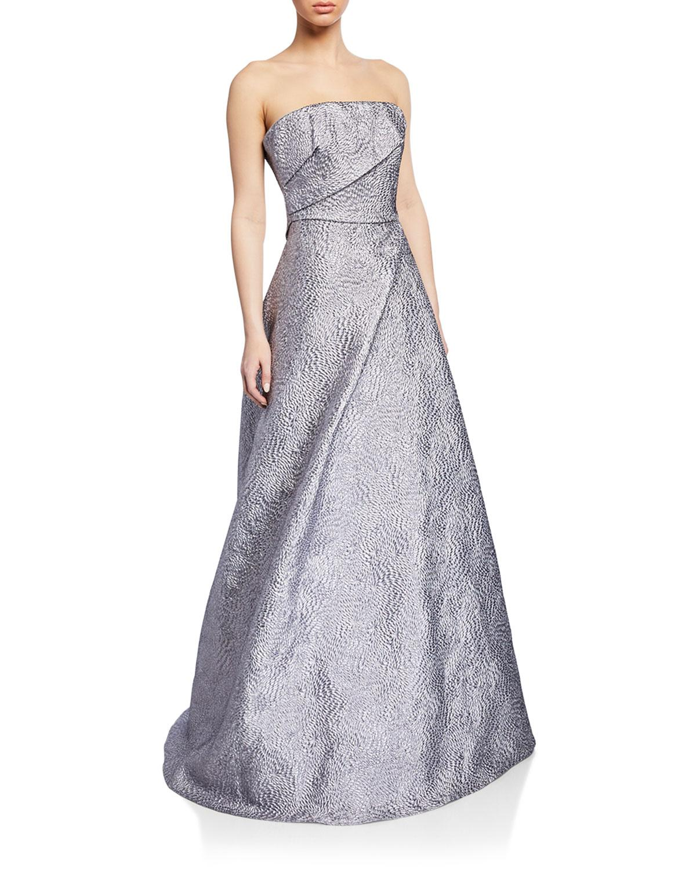 852f4674fdd Rene Ruiz. Women s Metallic Strapless Textured Taffeta Bustier Gown.  1