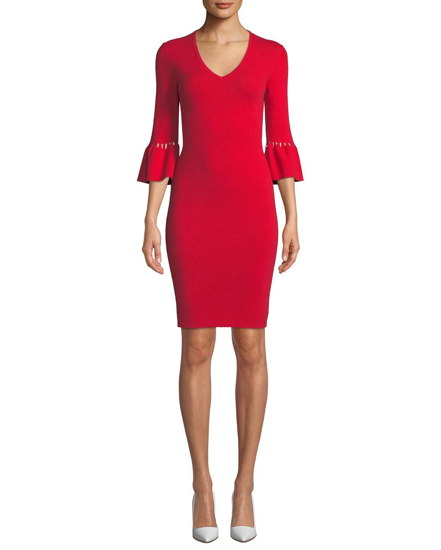 0e21b809a8a Lyst - Trina Turk Blues Bell Sleeve Sweater Dress in Red