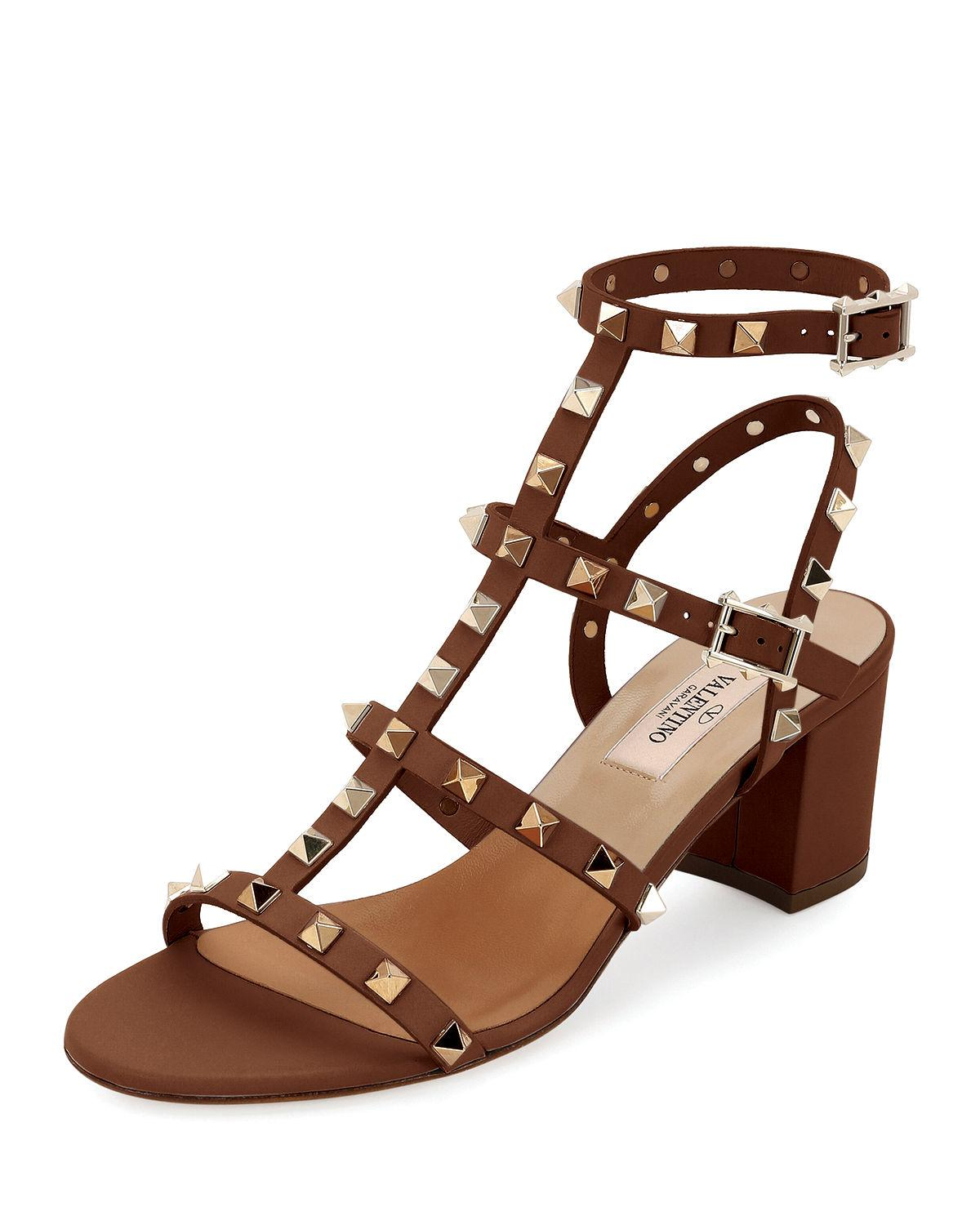 ed79601cb236 Lyst - Valentino Rockstud Leather 60mm Sandal in Brown