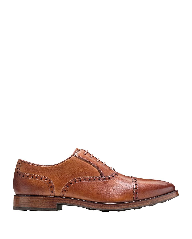 Cole Haan Hamilton Grand Cap Toe Leather Oxford In Beige