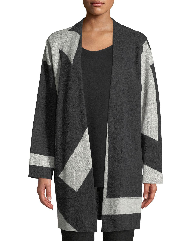 c201eaeffb9 Eileen Fisher. Women s Black Graphic Merino Long Kimono Cardigan Plus Size