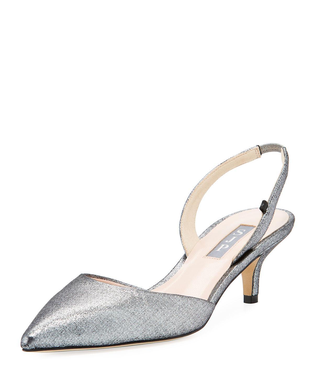 d7b9fb4853 SJP by Sarah Jessica Parker Bliss Metallic Kitten-heel Slingback ...
