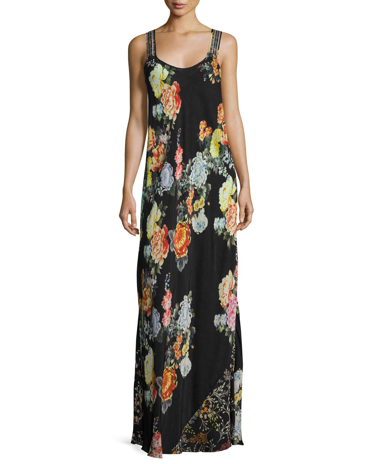 Johnny Was Petite Mixed-print Maxi Dress in Black - Save ...