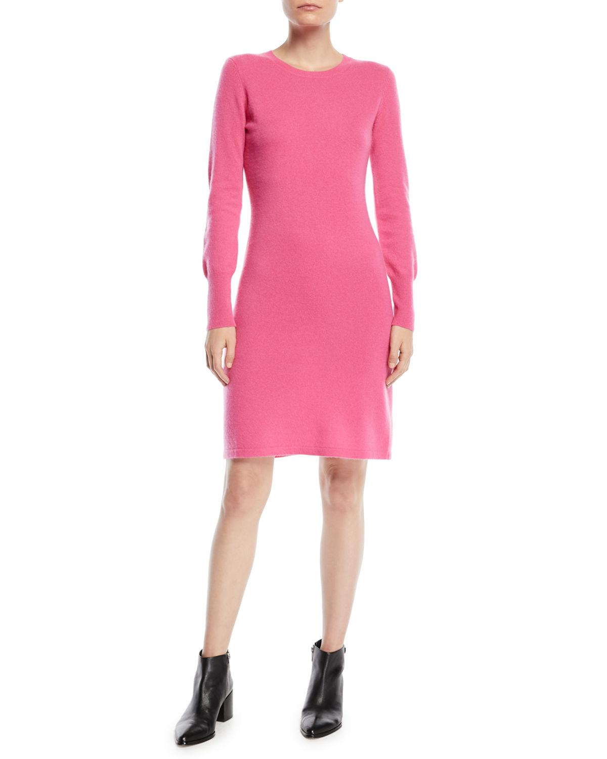 e07bb8621260 Lyst - Neiman Marcus Cashmere Long-sleeve Sweater Dress in Pink
