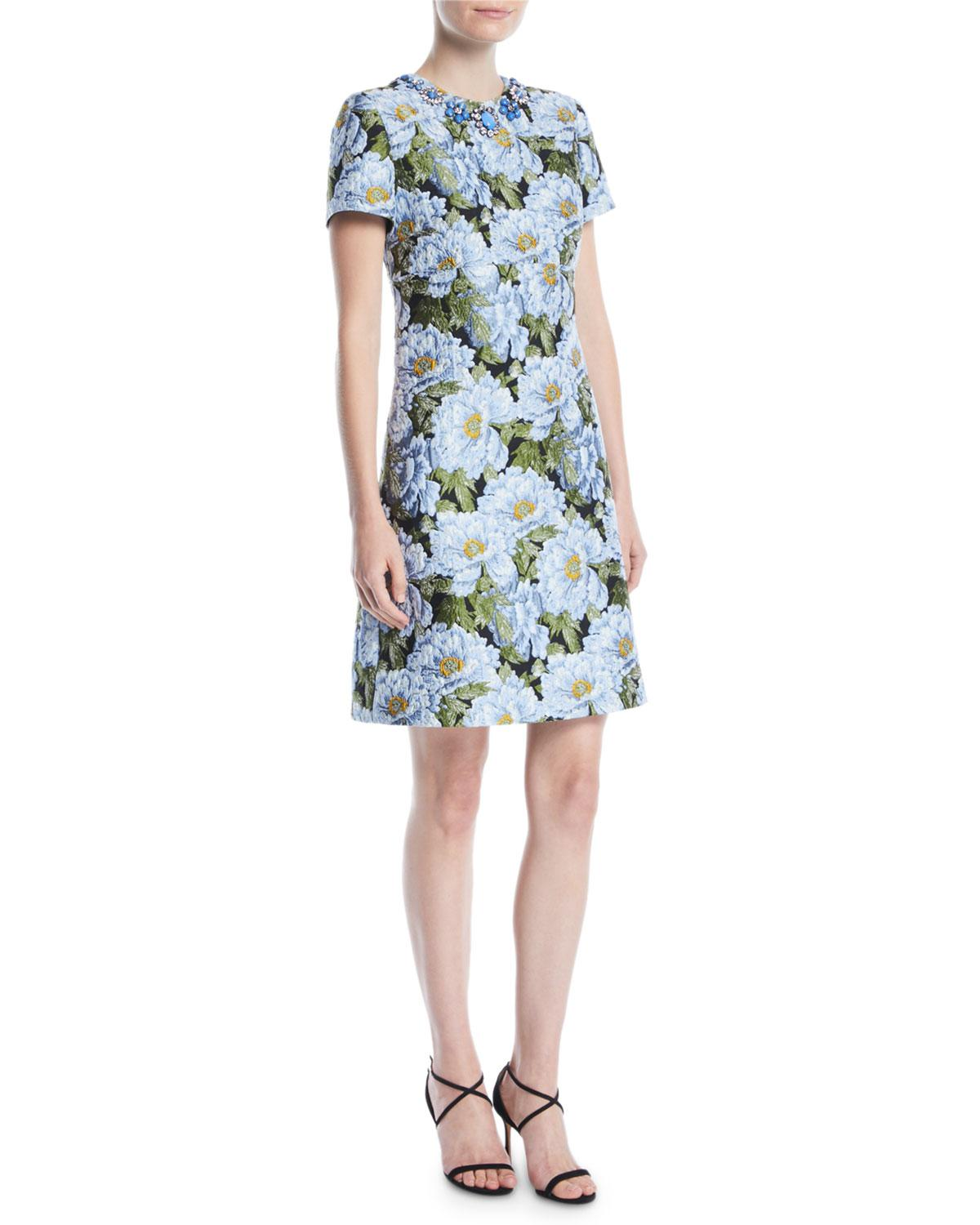 089316c6 ESCADA Jewel-neck Short-sleeve Floral-jacquard Day Dress in Blue - Lyst