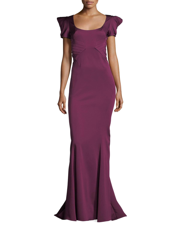 Lyst - Zac Zac Posen Bethanie Short-sleeve Mermaid Evening Gown in ...